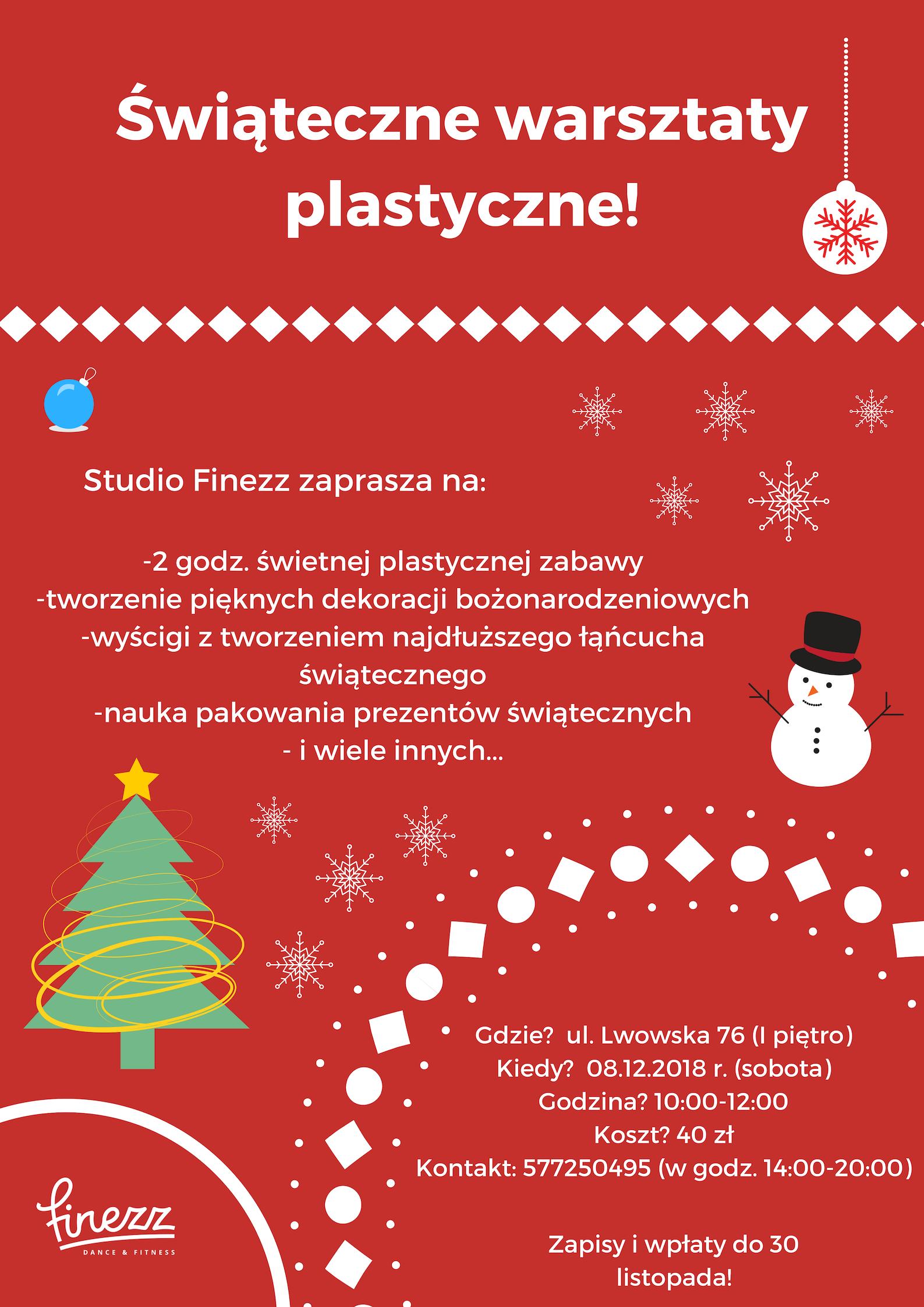 Bożonarodzeniowe warsztaty plastyczne!